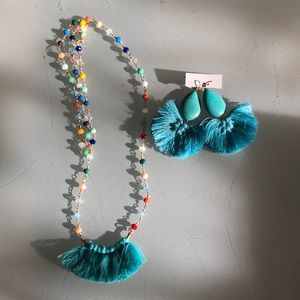 Jewelry - Beaded fringe necklace and turquoise earrings